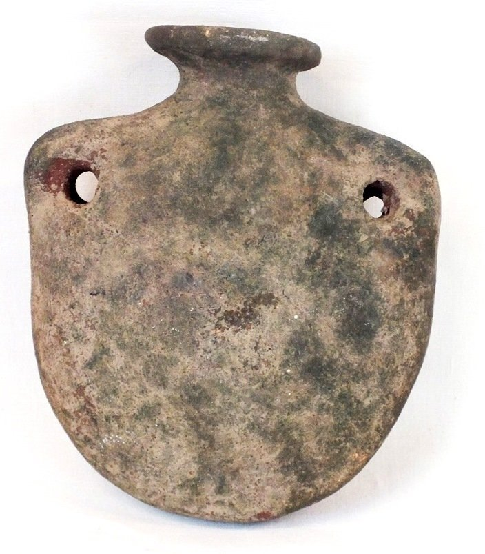 Ancient Helenistic terracotta vessel / flask