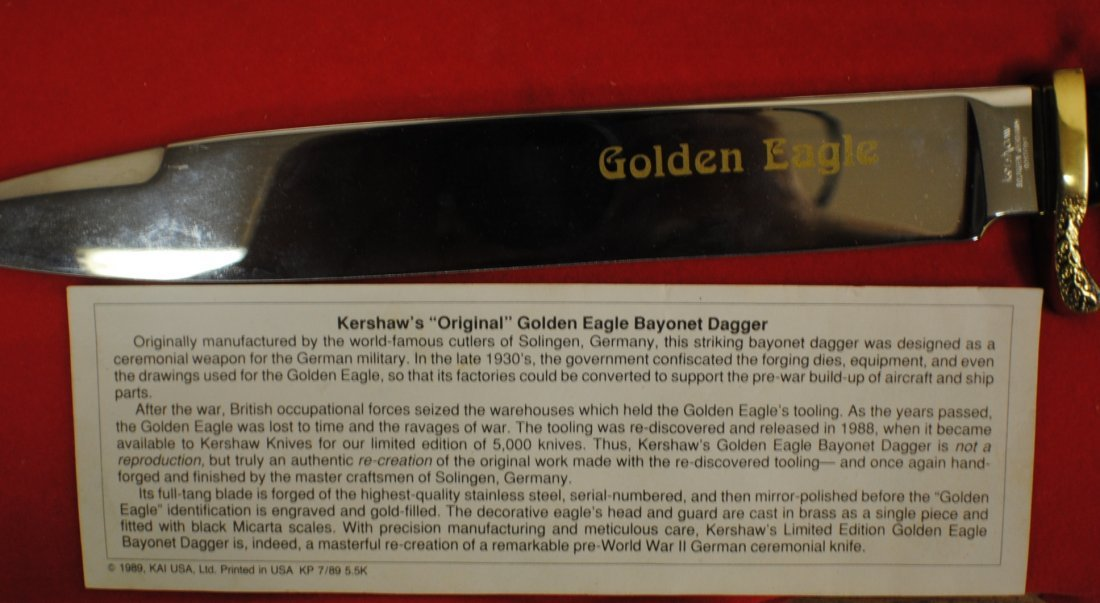Kershaw Solingen German Golden Eagle Dagger - 5