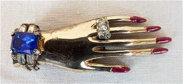 Coro Craft Adolph Katz Friendship Hands Sterling Pin