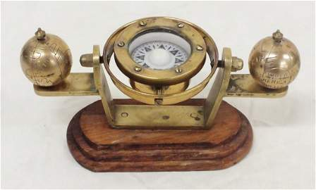 Plath table top compass with brass globes