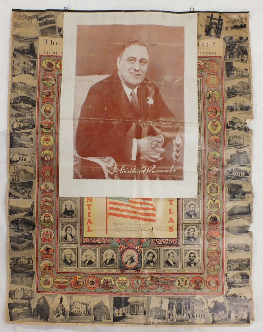 Paper Ephemera lot: Presidential Atlas, Roosevelt, etc.