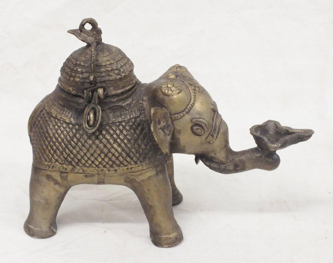 """Elephant"" bronze tea caddy"