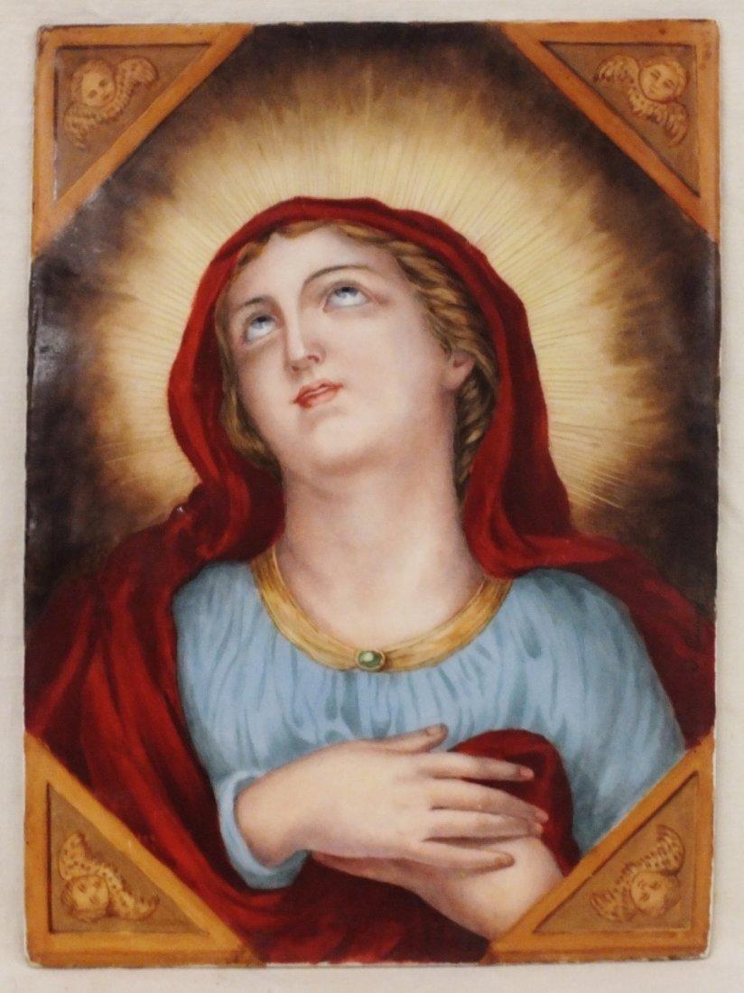Madonna religious painting on porcelain plaque