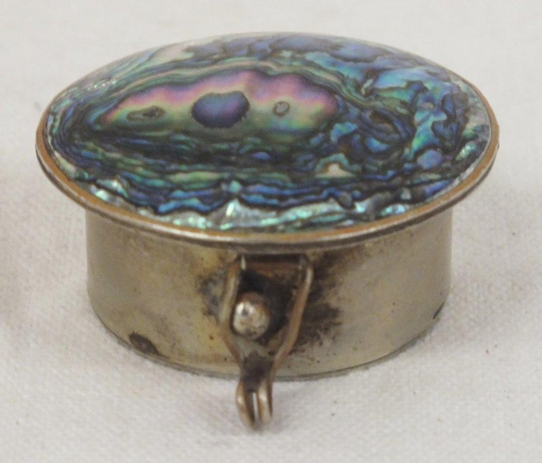 Mexican Alpaca Abalone silver pill box