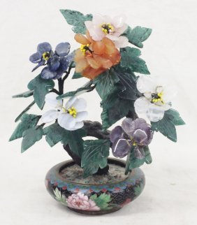 Chinese Stone Tree In Cloisonne Planter