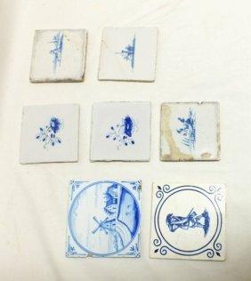 Lot Of 7 Delft Tiles