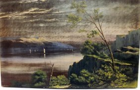 "Hudson River School ""river Landscape With Boats"""