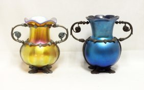 Pair Of Louis Tiffany Favrille Glass And Bronze Vases