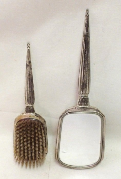 Sterling silver vanity mirror and brush