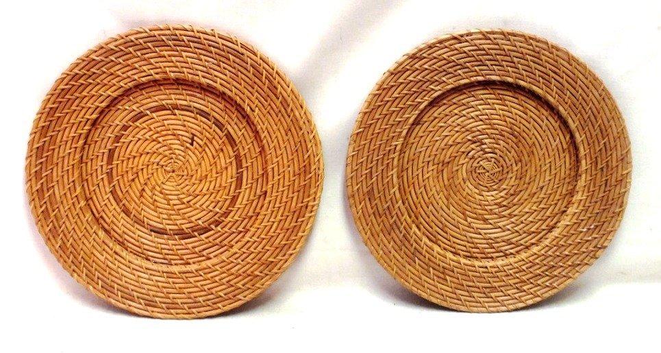 Two decorative wicker plates