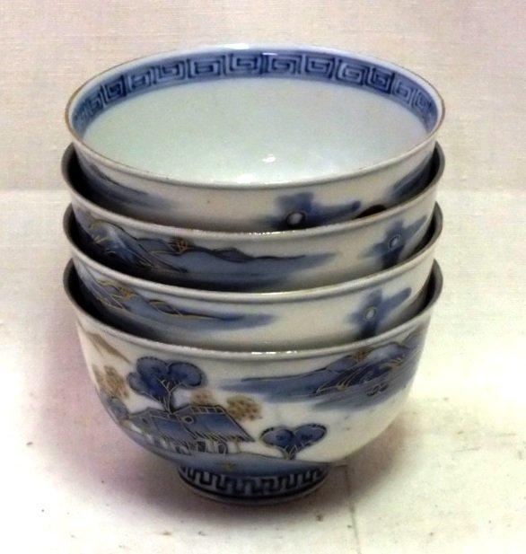 Four oriental soup bowls