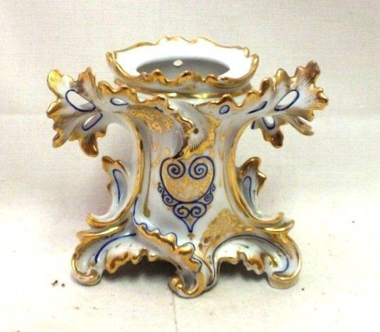 Antique Continental porcelain vase / brush holder