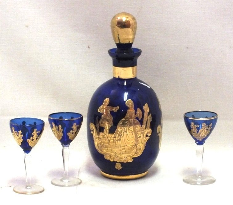 Bohemian decanter with 3 goblets
