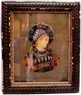 Victorian Needlepoint Portrait With Beads