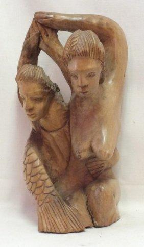 "Art Deco ""marinades"" Carved Wood Sculpture"