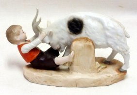 "Early Bisque Figurine ""boy With Goat"""