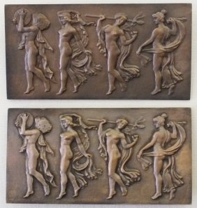 Pair Of Art Deco Bronze Plaques With Nude Dancers