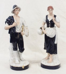 Royal Dux Boy And Girl Figurines/ Sculptures