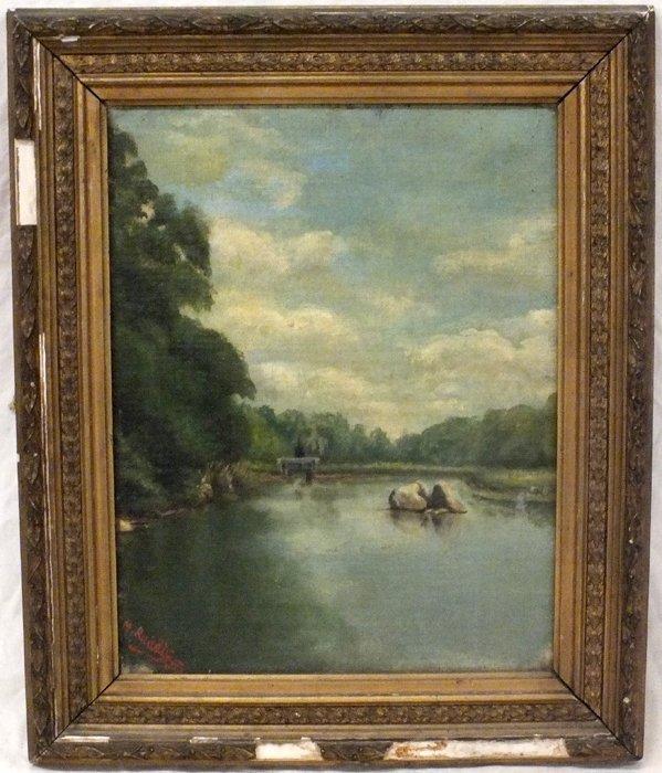 """1888 """"Landscape"""" signed M. Ruddle"""
