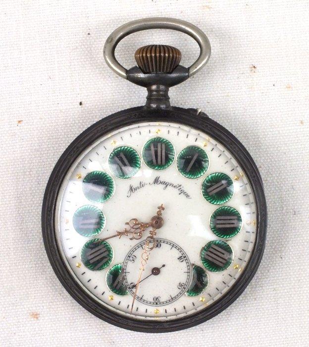 Remontoir 1800's pocket watch, railroad theme.