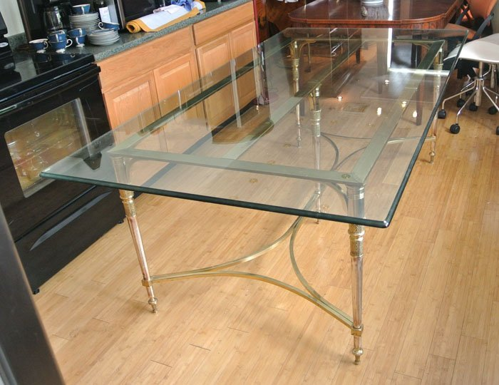 Mid 20'th Century brass and glass table