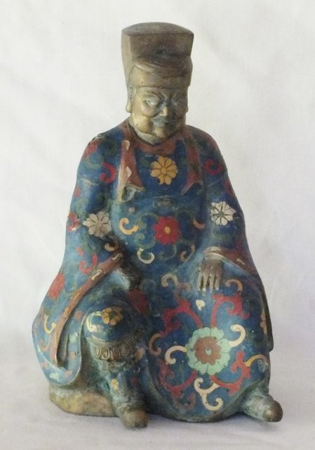 Chinese Cloisonne on bronze sculpture