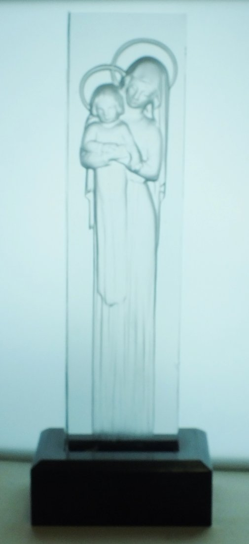 """Rene Lalique glass statue """"Madonna and Child"""" - 5"""