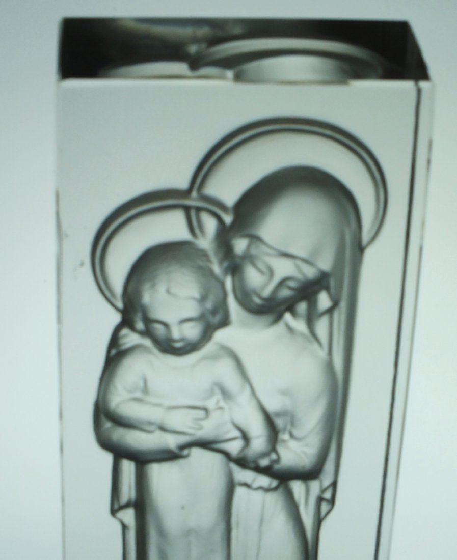"""Rene Lalique glass statue """"Madonna and Child"""" - 6"""