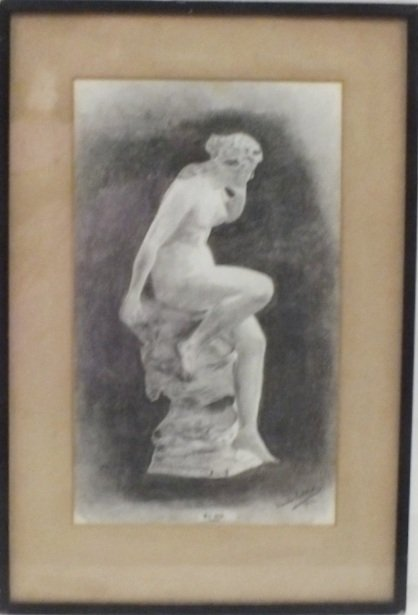 """Echo"" 1919 charcoal, signed illegibly"