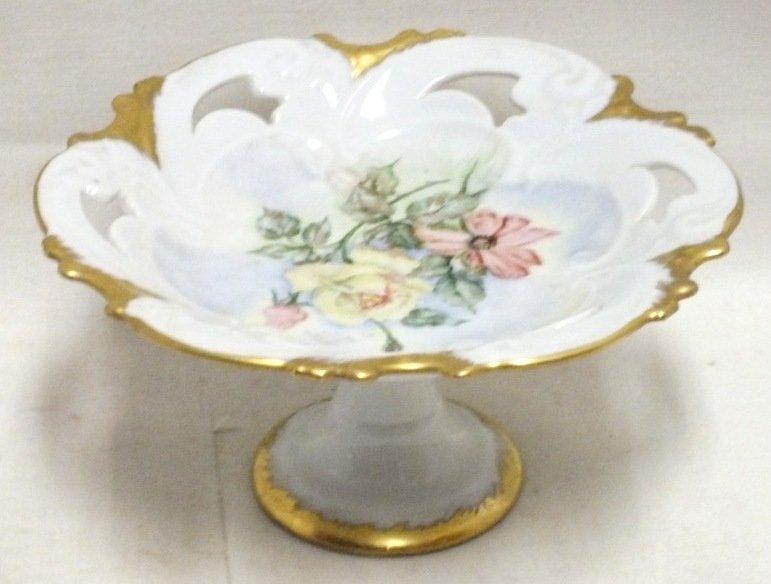 German Porcelain cake stand, signed L. Funger