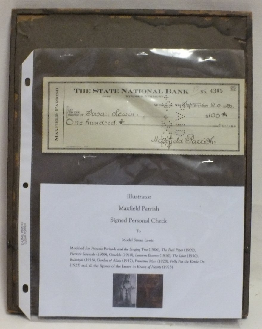 Maxfield Parrish autographed check to Susan Lewin