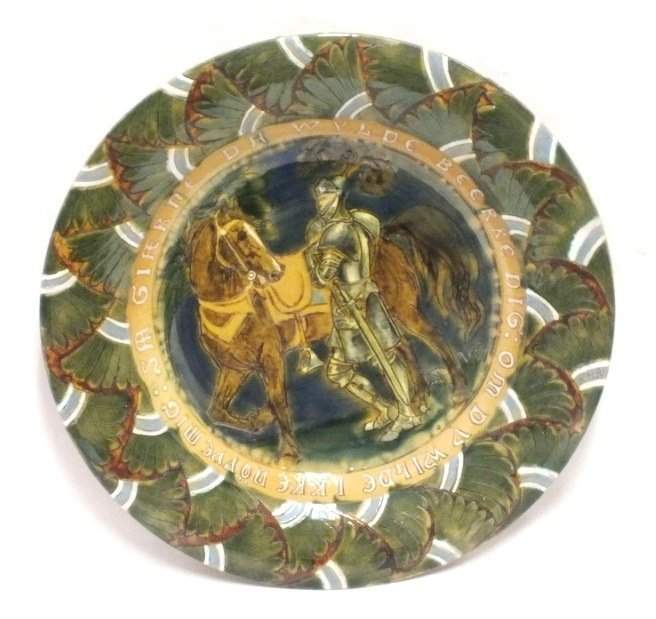 Norwegian majolica plate with night and horse