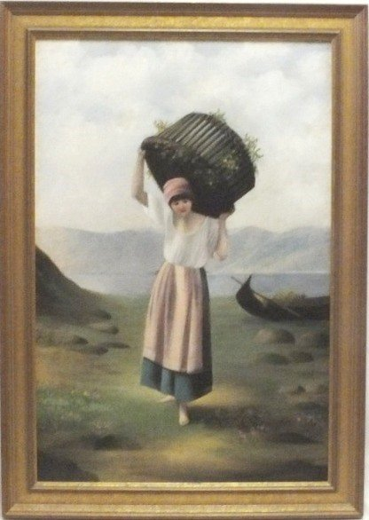 """Fisher's Wife"" 19th Century oil on canvas"