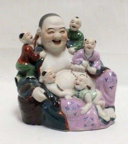 Happy Buddha porcelain sculpture