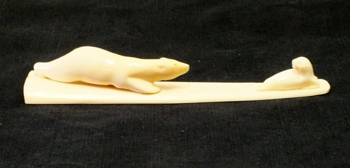Russian Mammoth bone carving with vintage label