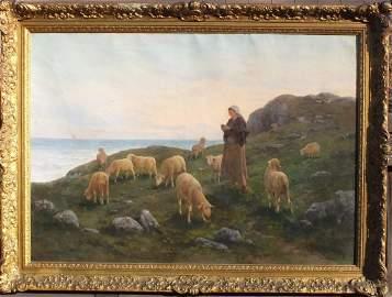 "Noe Bordignon (Italian, 1842 - 1920) ""SHEPHERDESS WITH"