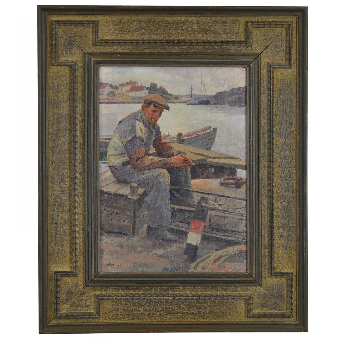 7: BERNHARD OSCARSSON (1894-1971), olja på pannå