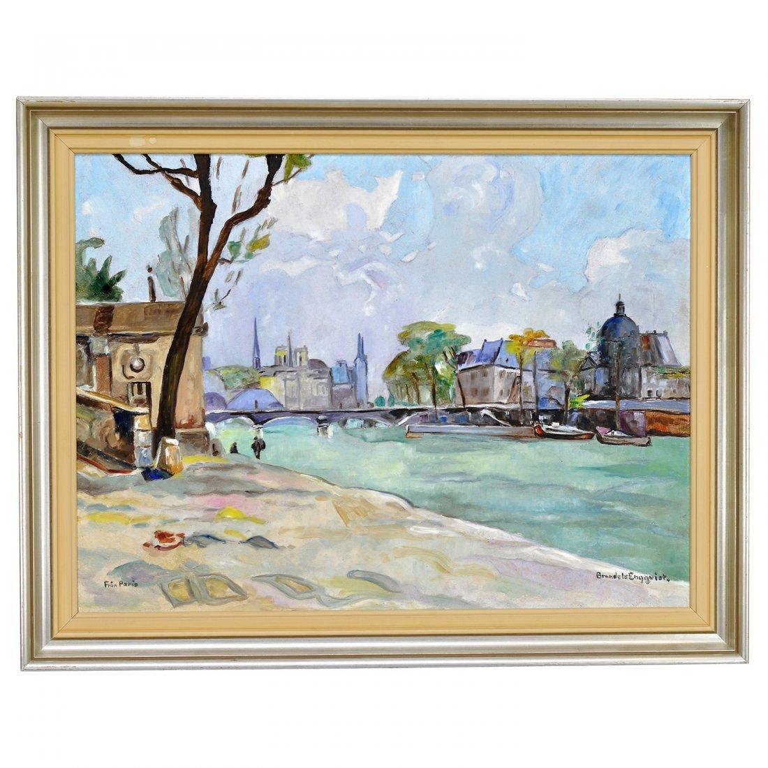 24: CARIN BRANDELS ENGQVIST (1906-2004), olja på pannå