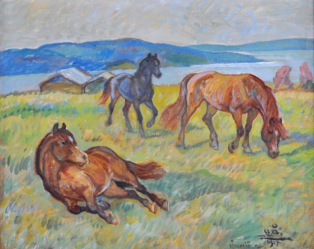 8: ACKE ÅSLUND (1881-1958), olja på pannå