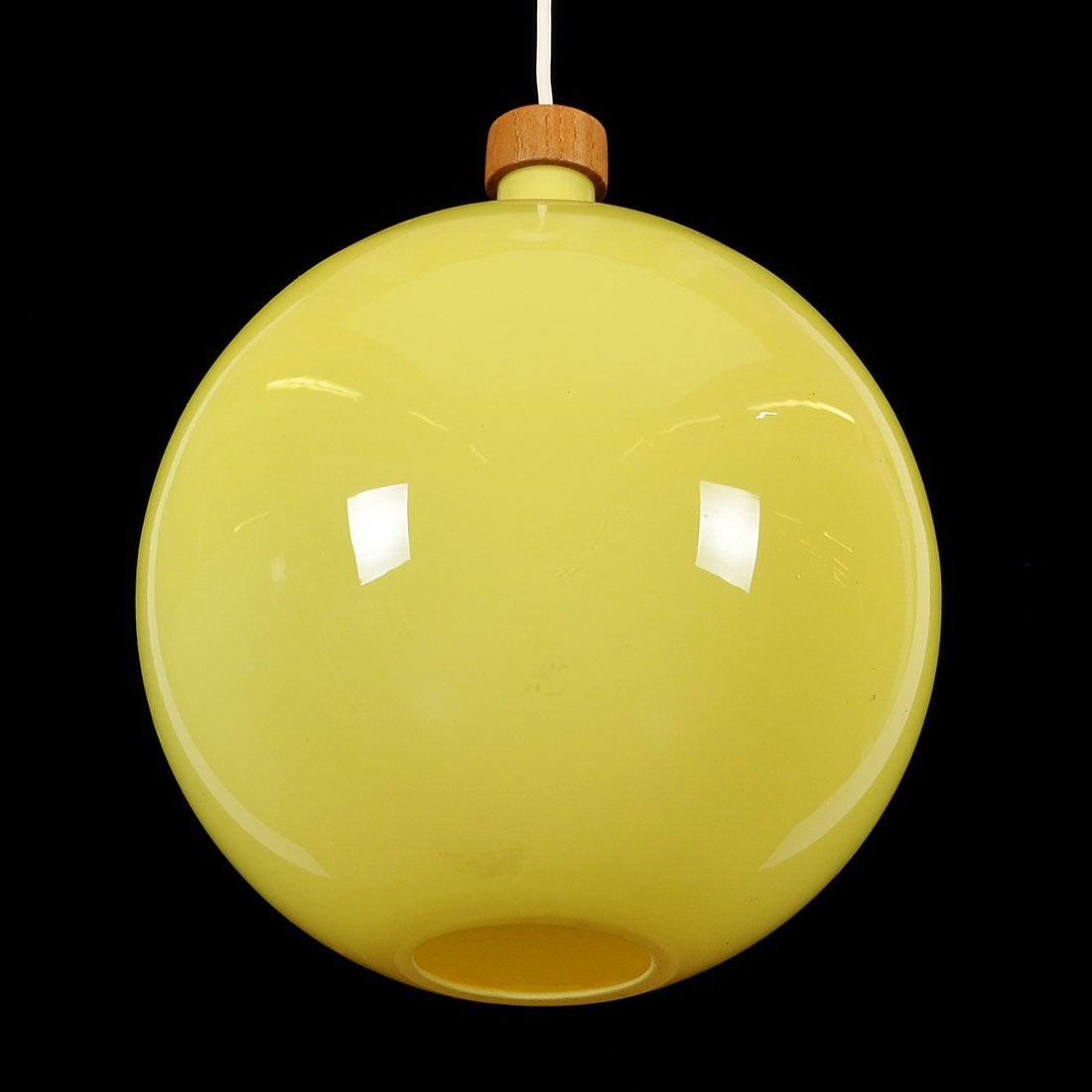 14: TAKLAMPA, glas/teak, retro 1960/70-tal, Holmegaard