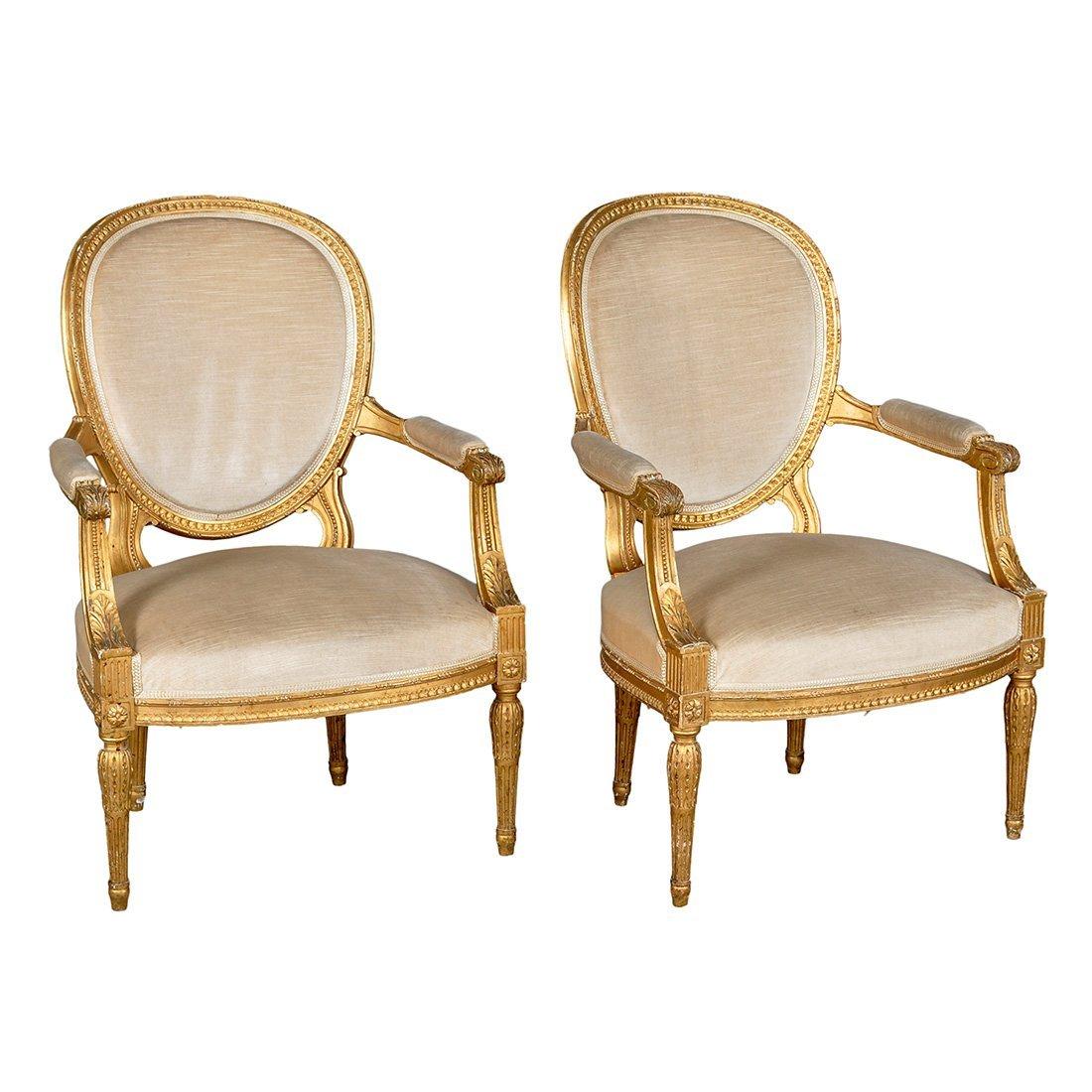 10: KARMSTOLAR, 1 par, 1800-tal, gustaviansk stil