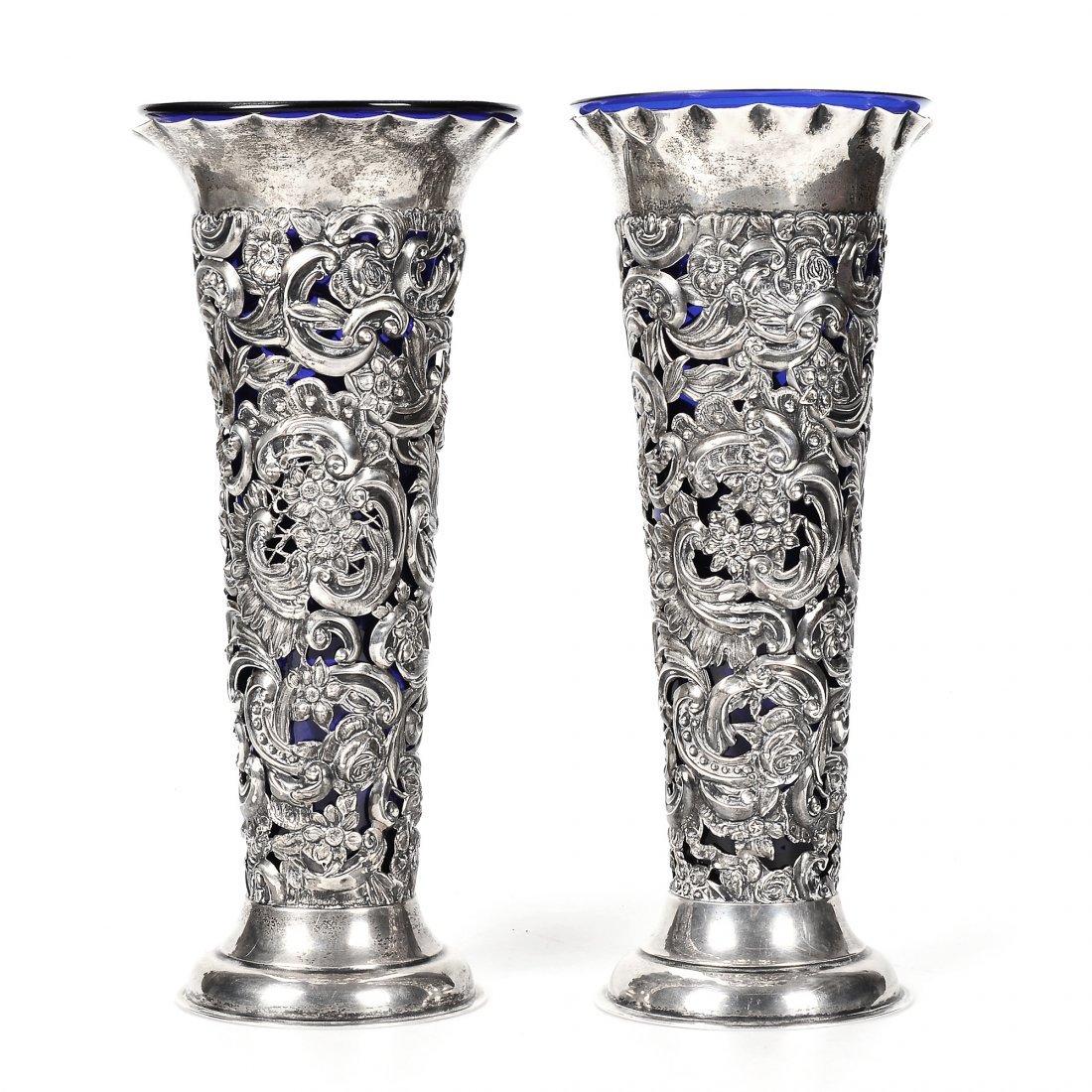 VASER, 1 par, silver/glas, England, WC