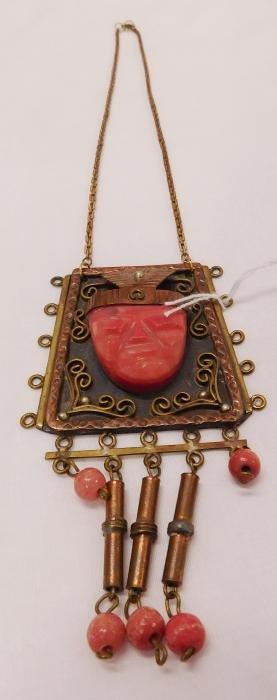 Mexican Copper Necklace w/Stone