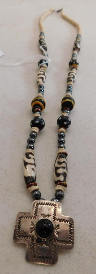 Trade Bead Necklace w/S.S. Pendant