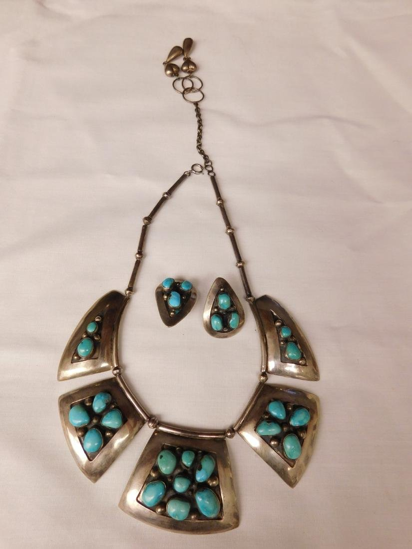 Signed S.S. & Turquoise Necklace w/Earrings
