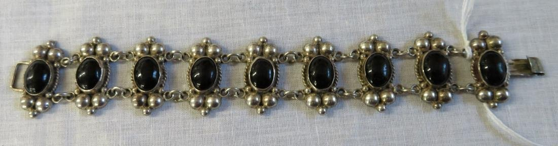 Mexican Sterling Silver & Stone Link Bracelet