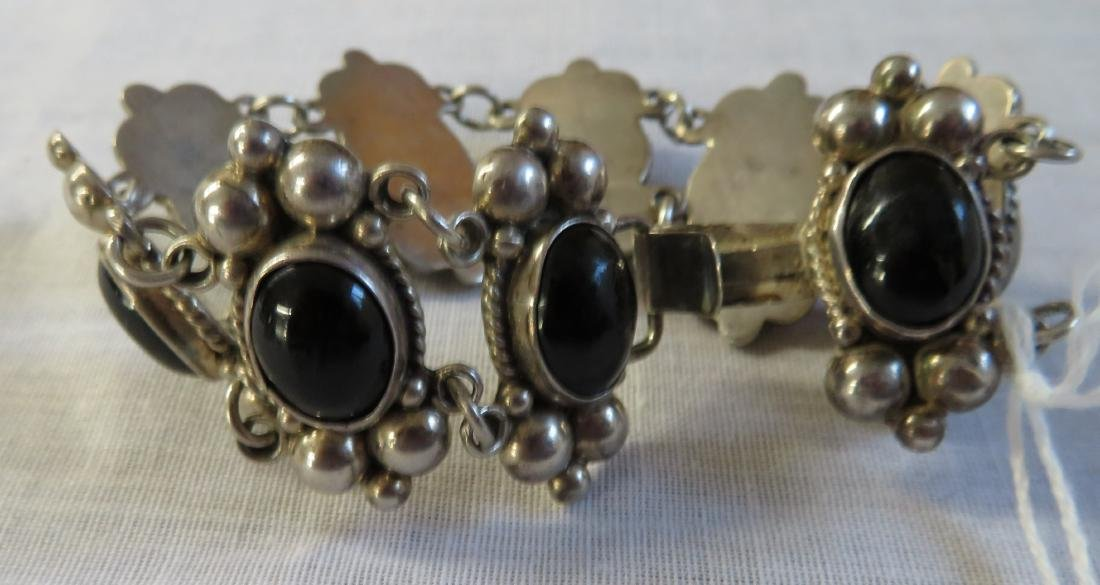 Mexican Sterling Silver & Stone Link Bracelet - 2