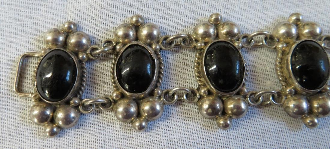 Mexican Sterling Silver & Stone Link Bracelet - 3