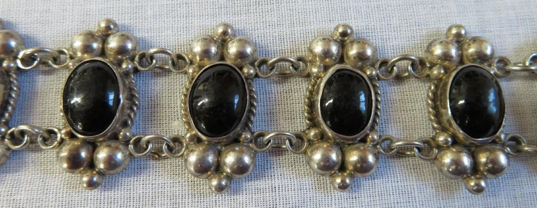 Mexican Sterling Silver & Stone Link Bracelet - 4