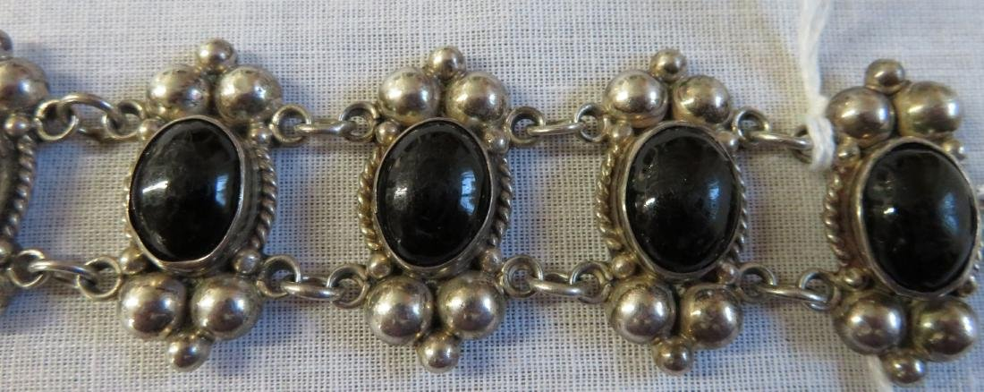 Mexican Sterling Silver & Stone Link Bracelet - 5